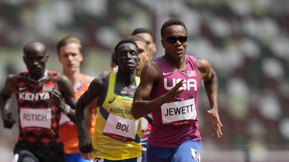 Isaiah Jewett, of United States, competes in a heat in the men's 800-meter run at the 2020 Summer Olympics, Saturday, July 31, 2021, in Tokyo. (AP Photo/Petr David Josek)