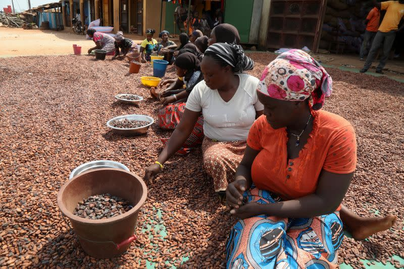 Women prepare cocoa beans next to a warehouse in Soubre,