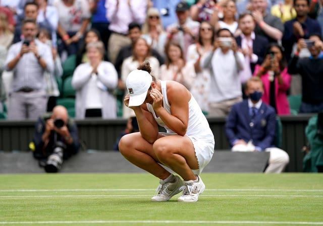 Ashleigh Barty takes in the moment on Centre Court