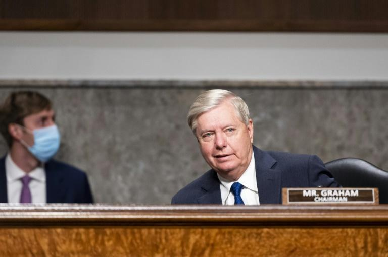 "Senator Lindsey Graham takes his seat during a Senate Judiciary Committee hearing titled, ""Breaking the News: Censorship, Suppression, and the 2020 Election,"" on Facebook and Twitter's content moderation practices"