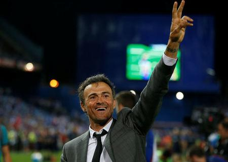 Football Soccer - FC Barcelona v Deportivo Alaves - Spanish King's Cup Final - Vicente Calderon Stadium, Madrid, Spain - 27/5/17 Barcelona coach Luis Enrique celebrates at the end of the matchReuters / Susana Vera