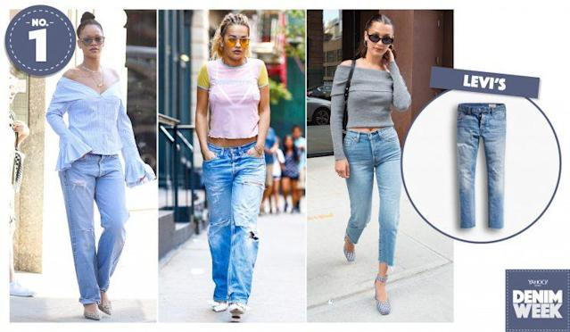 Rihanna, Rita Ora, and Bella Hadid wearing Levi's jeans out and about. (Photo, left to right: AKM-GSI, AKM-GSI, Getty, Levi's)