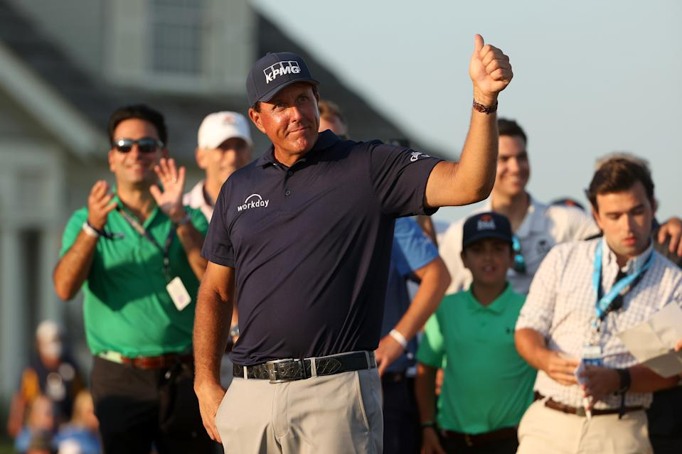 KIAWAH ISLAND, SOUTH CAROLINA - MAY 23: Phil Mickelson of the United States gives a thumbs up during the Wanamaker Trophy presentation ceremony after winning the final round of the 2021 PGA Championship held at the Ocean Course of Kiawah Island Golf Resort on May 23, 2021 in Kiawah Island, South Carolina. (Photo by Patrick Smith/Getty Images)