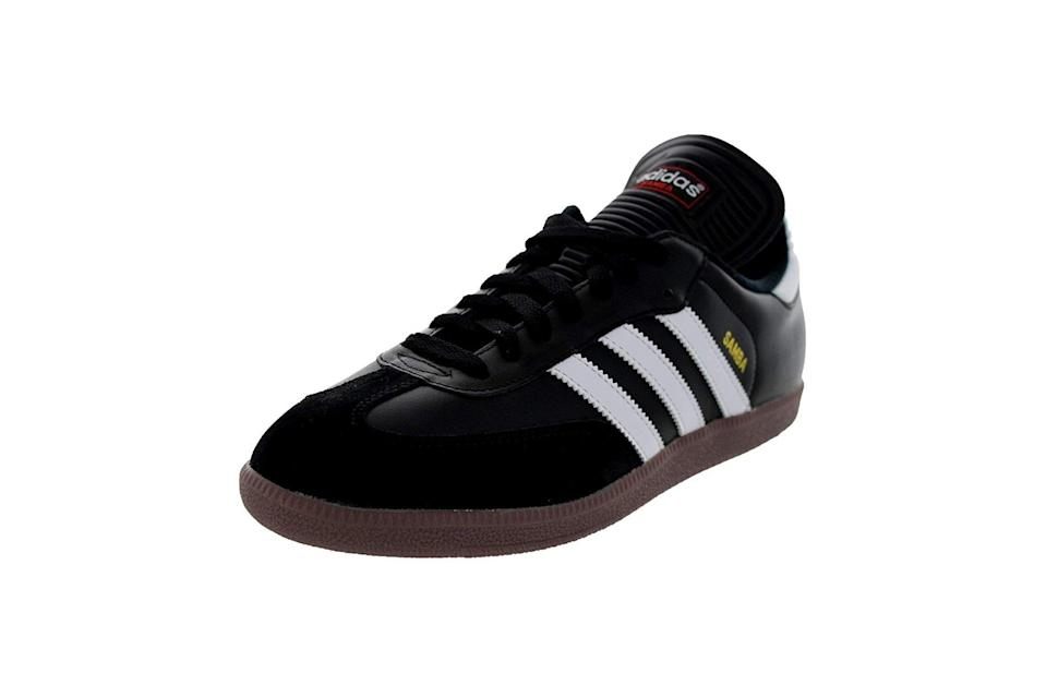 "$55, Amazon. <a href=""https://www.amazon.com/adidas-Samba-Classic-Soccer-Running/dp/B0007PN9Z6/ref=sr_1_93?pf_rd_i=19781749011&pf_rd_m=ATVPDKIKX0DER&pf_rd_p=0a68a51e-ebd2-4acb-b0c9-ca56f293d2a7&pf_rd_r=6DZATFKV7ZHHP0ANCEYS&pf_rd_s=merchandised-search-2&pf_rd_t=101&qid=1567820465&s=apparel&sr=1-93&th=1&psc=1"" rel=""nofollow noopener"" target=""_blank"" data-ylk=""slk:Get it now!"" class=""link rapid-noclick-resp"">Get it now!</a>"
