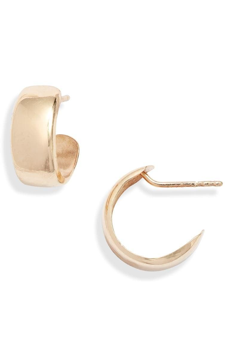 <p><span>Bony Levy 14K Gold Small Flat Wide Hoop Earrings</span> ($146, originally $295)</p>