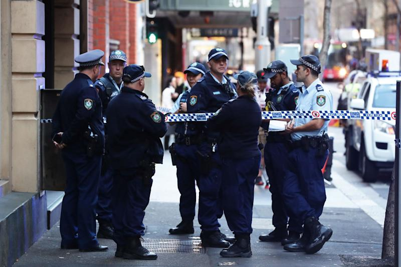 SYDNEY, AUSTRALIA - AUGUST 13: A police presence is seen outside 118 Clarence St on August 13, 2019 in Sydney, Australia. (Photo by Matt King/Getty Images)