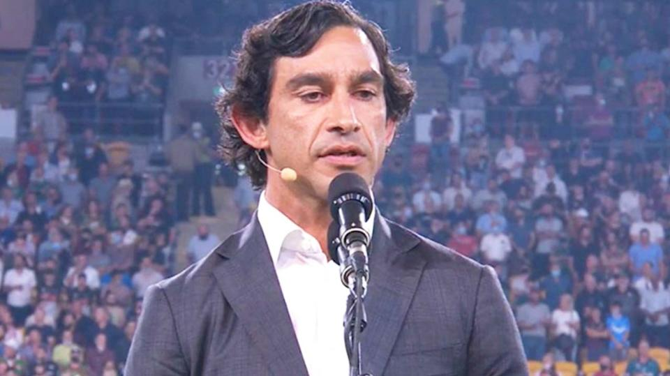 NRL legend Johnathan Thurston (pictured) performing the Welcome to Country at Suncorp stadium.