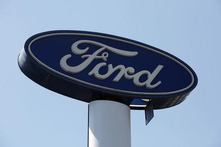 Sign of Ford is pictured at a car dealership in Mexico City