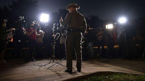 PHOTO: Texas Department of Public Safety spokesperson Lt. Craig Cummings speaks to members of the media outside of the hospital where people wounded during a shooting at Kent Moore Cabinets are being treated, April 8, 2021 in Bryan, Texas. (Tamir Kalifa/Getty Images)