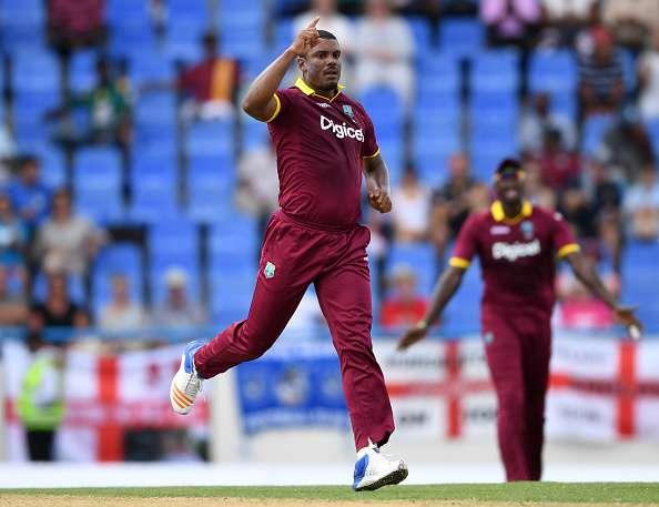 ST JOHNS, ANTIGUA - MARCH 03: Shannon Gabriel of the West Indies celebrates dismissing Joe Root of England during the first One Day International between the West Indies and England at Sir Vivian Richards Cricket Ground on March 3, 2017 in St Johns, Antigua. (Photo by Gareth Copley/Getty Images)