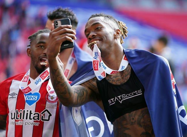 Ivan Toney scored his 33rd goal of the season as Brentford clinched promotion to the Premier League with a 2-0 play-off final victory over Swansea at Wembley (Mike Egerton/PA).