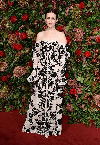 <p><em>The Crown</em> actor wore an off-the-shoulder Alexander McQueen gown at the Evening Standard Theatre Awards in London. <em>[Photo: Getty]</em> </p>