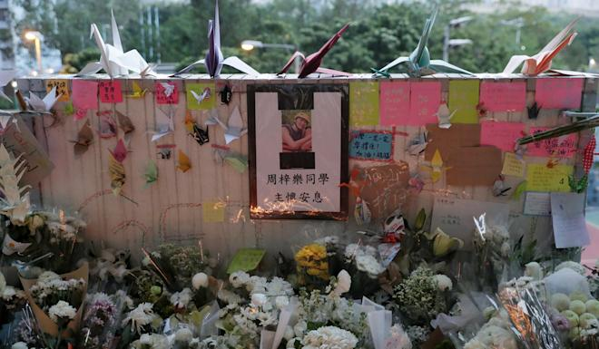 A shrine to Chow Tsz-lok at the Tseung Kwan O car park where he sustained the injuries which eventually led to his death. Photo: Edmond So