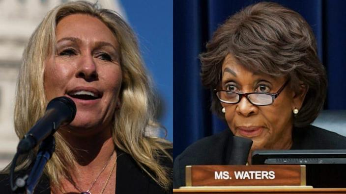 Republican House member Marjorie Taylor Greene (left) released a statement Sunday saying that she will introduce a resolution to expel longtime California Rep. Maxine Waters (right) from Congress. (Photos by Drew Angerer and Stefani Reynolds-Pool/Getty Images)