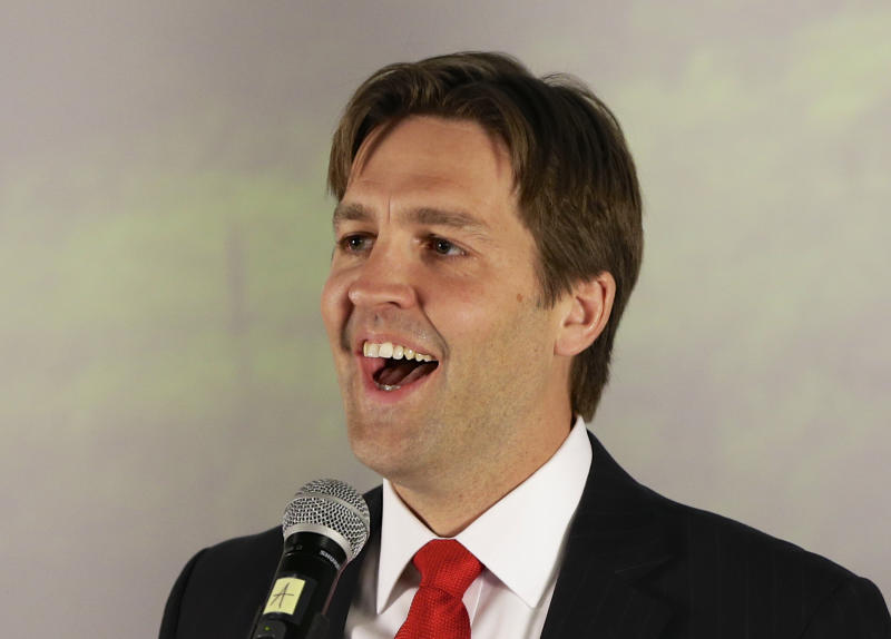 Republican Senate hopeful Ben Sasse speaks in Lincoln, Neb., Tuesday, May 13, 2014, after winning his party's primary election. Sasse captured the Republican nomination for U.S. Senate in a bitter race that highlighted fissures within the GOP. (AP Photo)