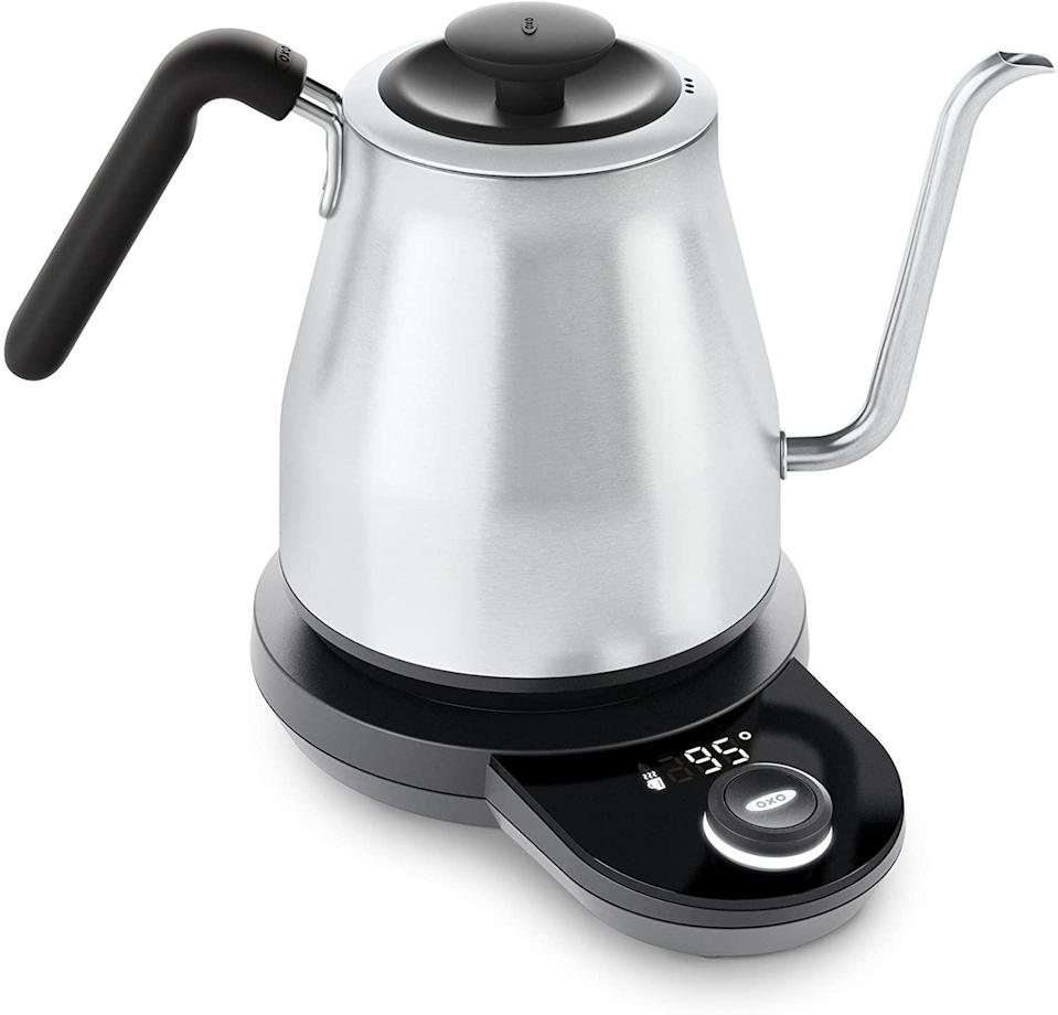 "<h2>20% Off OXO Adjustable Temperature Kettle</h2><br>This admittedly picky reviewer just about sums up just how superb OXO's adjustable electric kettle is: ""You can set the temperature precisely, have the kettle hold the temp, press and hold the button to start the timer feature and start your coffee pour-over. The water is heated fast. I'm actually amazed at how quickly it heats the cold filtered water from my refrigerator. The display shows the temperature of the water as it is heating up so a quick glance tells you how close the water is to your setting. The dial is nice and large and has a good tactile feel when in use. The display is large and pleasing. When you move the kettle from the base the bottom of the kettle is not hot and can be placed on a table without worrying about burning yourself or damaging the surface. The rubber grip is excellent and the balance felt good in my hand when I was pouring. The lid fits snugly and securely. Another overlooked feature is how the cord can wrap into the base so you can adjust the length for your kitchen location without excess cord clutter. Overall, I can tell a lot of thought went into developing this kettle and it meets my needs perfectly.""<br><br><strong>Oxo</strong> Adjustable Temperature Kettle, 2.3, Silver, $, available at <a href=""https://amzn.to/2JlQech"" rel=""nofollow noopener"" target=""_blank"" data-ylk=""slk:Amazon"" class=""link rapid-noclick-resp"">Amazon</a>"