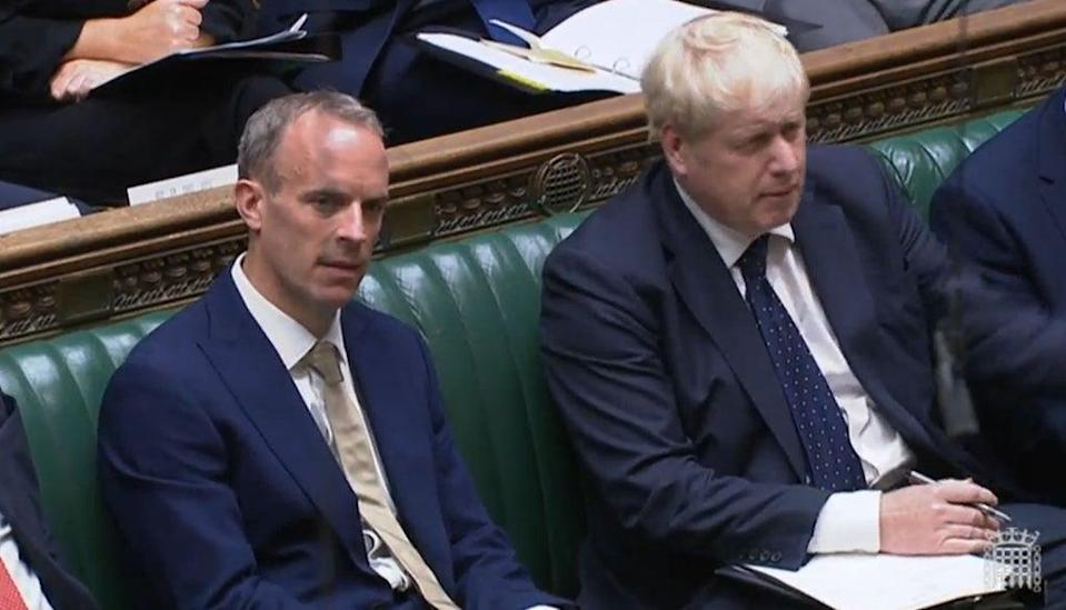 Foreign Secretary Dominic Raab with Prime Minister Boris Johnson (House of Commons/PA) (PA Wire)