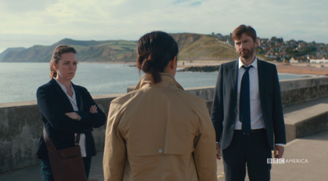 Miller (Olivia Colman) and Hardy (David Tennant) are not happy with DS Katie Harford. (Georgina Campbell) (Photo: BBC America)