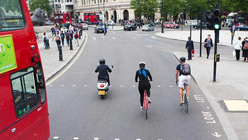 Cyclists in London traffic