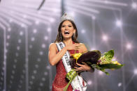 This image released by Miss Universe Organization shows Miss Universe Mexico 2020 Andrea Meza who was crowned Miss Universe at the 69th Miss Universe Competition at the Seminole Hard Rock Hotel & Casino in Hollywood, Fla. on Sunday, May 16, 2021. (Benjamin Askinas/Miss Universe via AP)