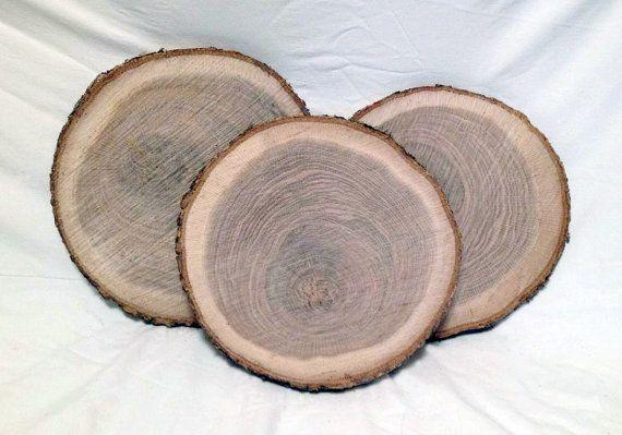 "These <a href=""https://www.etsy.com/listing/472108168/8-wood-slices-10-to-12-rustic-fall-decor?ga_order=most_relevant&ga_search_type=all&ga_view_type=gallery&ga_search_query=thanksgiving%20table&ref=sc_gallery_12&plkey=f67491a4b8b2dad2705b45d054bdefb450b61cb8:472108168"" target=""_blank"">freshly cut wood pieces</a> come in sets of 8 and perfectly compliment a rustic table setting."