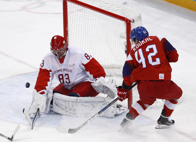 Petr Koukal (42), of the Czech Republic, shoots at Russian athlete Vasili Koshechkin (83) during the third period of the semifinal round of the men's hockey game at the 2018 Winter Olympics in Gangneung, South Korea, Friday, Feb. 23, 2018. (AP Photo/Patrick Semansky)