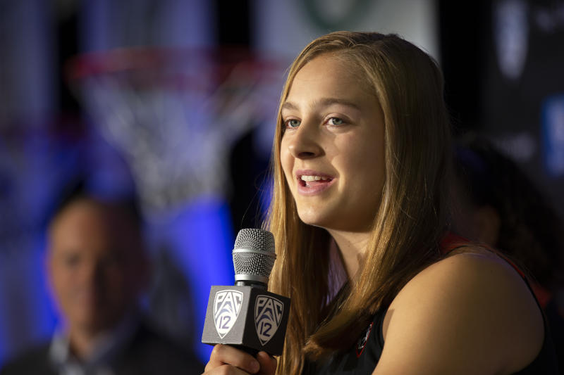 Oregon State's Mikayla Pivec speaks to reporters during the Pac-12 Conference women's NCAA college basketball media day, Monday, Oct. 7, 2019, in San Francisco.(AP Photo/D. Ross Cameron)