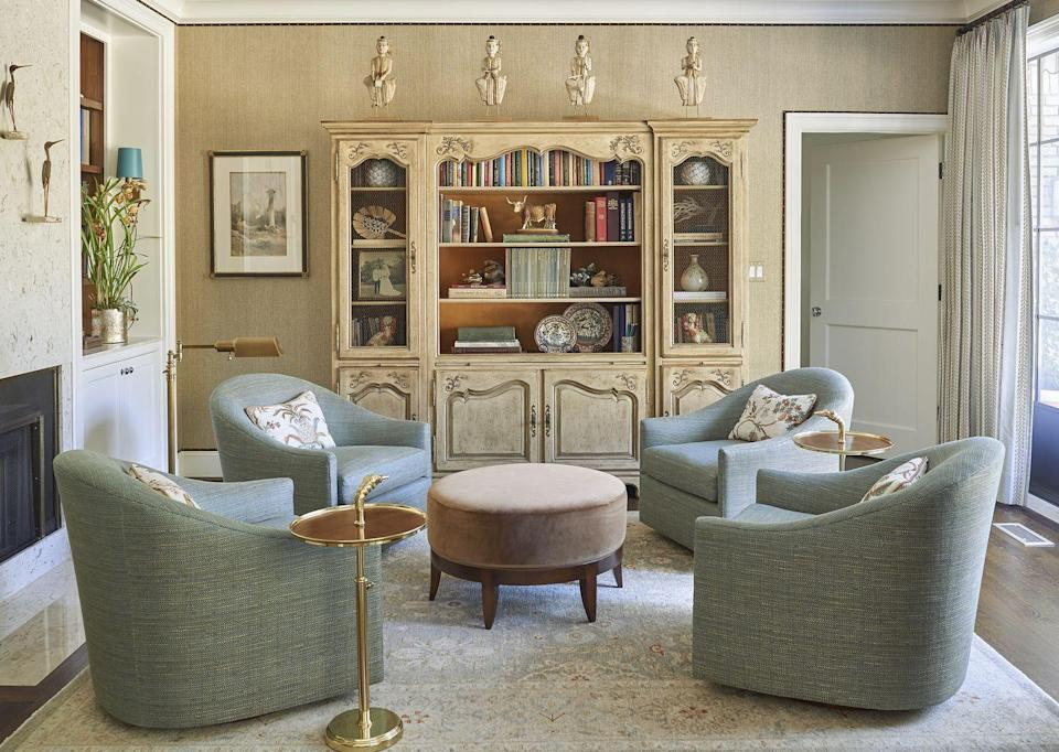 <p><em>Grasscloth is a great way to bring warmth and texture into a room. In a larger room, a solid grasscloth makes for a more intimate atmosphere, without being overbearing. In this image (York grasscloth), I trimmed out the walls with a velvet ribbon and nailhead. </em>Josh Pickering</p>