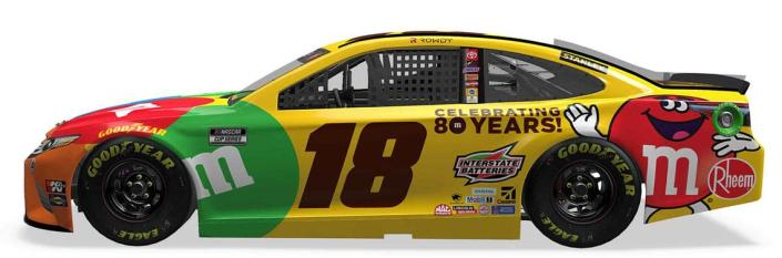 NASCAR driver Kyle Busch will race a vintage No. 18 M&M's paint scheme for the Throwback Weekend at Darlington.