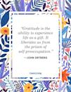 """<p>""""Gratitude is the ability to experience life as a gift. It liberates us from the prison of self-preoccupation.""""</p>"""