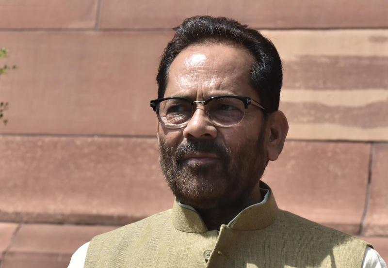 NEW DELHI, INDIA - MARCH 13: Union Minister of Minority Affairs Mukhtar Abbas Naqvi during the Budget session, at Parliament House, on March 13, 2020 in New Delhi, India. The Budget Session started on January 31 and then it went on recess on February 11. It resumed on March 2 and will conclude on April 3. (Photo by Mohd Zakir/Hindustan Times via Getty Images)