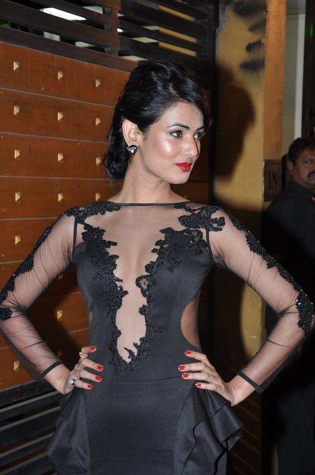 Sonal Chauhan shows off the sheer detailing on her dress.