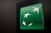 FILE PHOTO: The BNP Paribas logo is seen at a branch in Paris