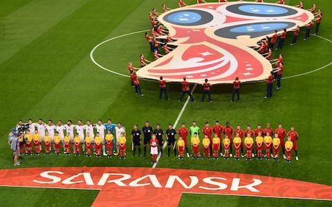 Portugal and Iran line up prior to the 2018 FIFA World Cup Russia group B match between Iran and Portugal at Mordovia Arena on June 25, 2018 in Saransk, Russia - Credit: Getty Images
