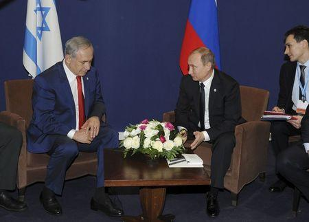 Russia's Vladimir Putin meets with Israel's Prime Minister Benjamin Netanyahu on the sidelines of the World Climate Change Conference 2015 (COP21) at Le Bourget, near Paris
