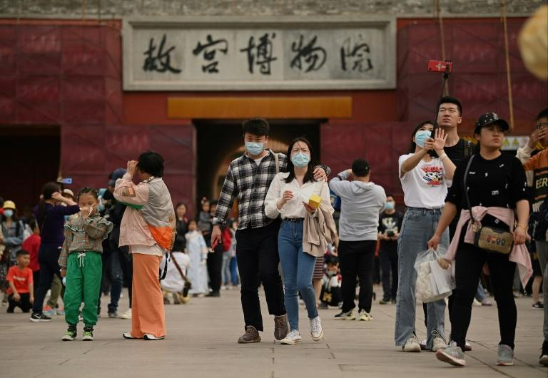 People visit the Forbidden City in Beijing during the Labour Day holidays