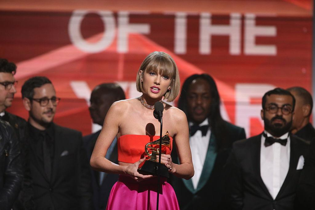 Taylor Swift accepts an award at the 2016 Grammys. (Photo: Cliff Lipson/CBS via Getty Images)