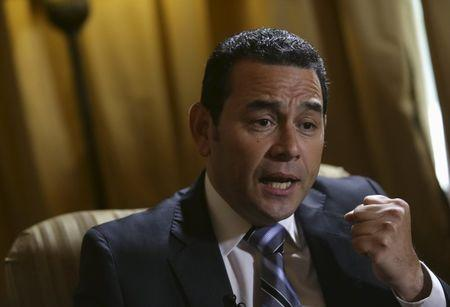 Guatemala's President-elect Jimmy Morales speaks during a interview with Reuters, Guatemala City