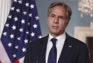Secretary of State Antony Blinken speaks about Afghanistan, at the State Department in Washington, Monday, Aug. 30, 2021. (Jonathan Ernst/Pool via AP)