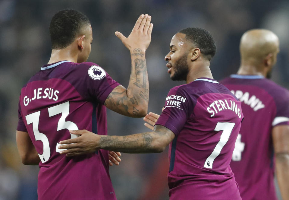 Gabriel Jesus and Raheem Sterling both scored in Manchester City's 3-1 win over Tottenham. (Getty)