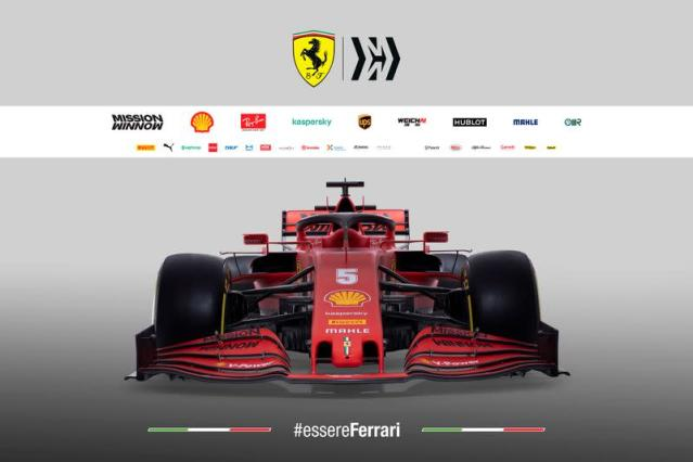 The new Ferrari Formula One race car is pictured in this handout photo