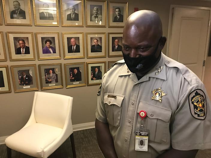 Montgomery County Sheriff Derrick Cunningham talks about his department's budget Tuesday after meeting with the Montgomery County Commission.