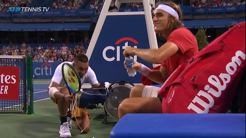 Good Guy Nick Kyrgios Delivers New Shoes To Stefanos Tsitsipas Mid Match