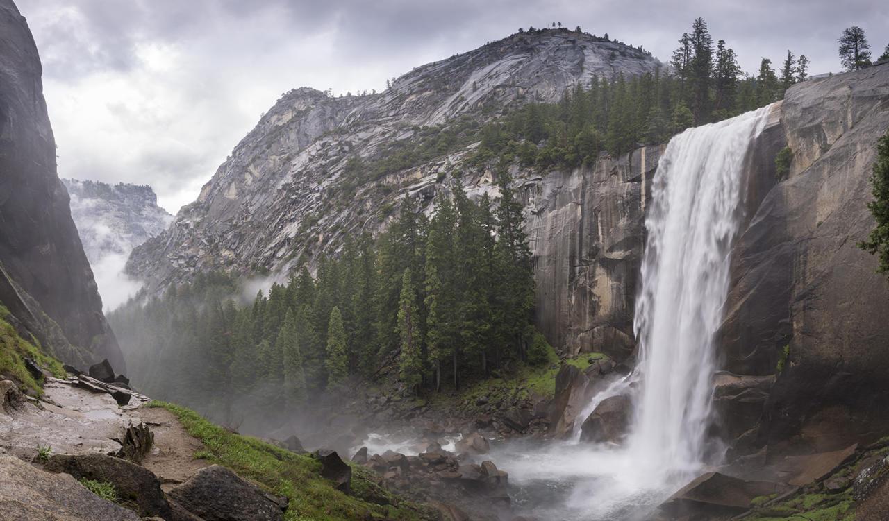 <p>Vernal Fall as seen from the Mist Trail in Yosemite National Park, Calif. (Photo: Robert Harding World Imagery/Getty Images) </p>