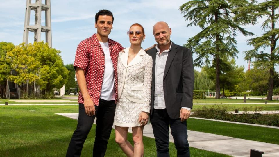 """Oscar Isaac, Jessica Chastain and Hagai Levi in Venice for the premier of """"Scenes From a Marriage"""""""
