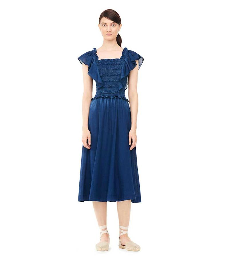 Denim dress with shoulder frill. (