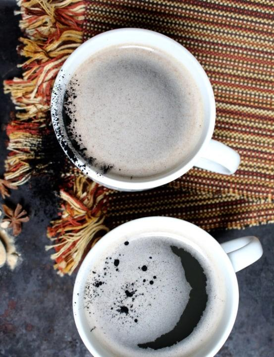 Charcoal turnsthese lattes, made with maca, baobab and chaga mushrooms, inky black.
