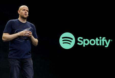 FILE PHOTO: Spotify CEO Daniel Ek speaks during a media event in New York, U.S., May 20, 2015. REUTERS/Shannon Stapleton/File Photo