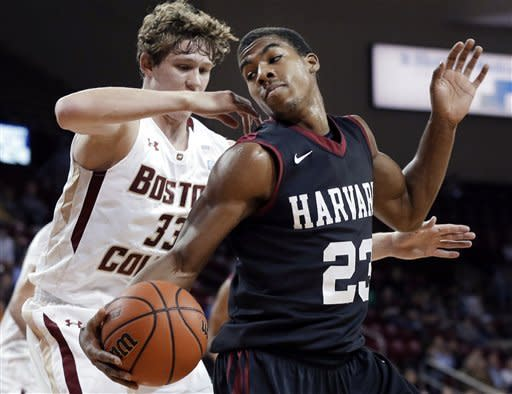 Harvard's Wesley Saunders (23) makes a move with the ball against Boston College's Patrick Heckmann (33) during the first half of an NCAA basketball game in Boston, Tuesday, Dec. 4, 2012. (AP Photo/Elise Amendola)