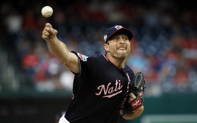 "Max Scherzer's ""immaculate inning"" against the Rays on Tuesday put him in the elite company of four Hall of Fame pitchers. (AP)"